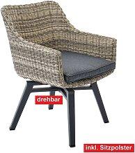 OUTDOOR Drehstuhl /Gartenstuhl mit Armlehnen und