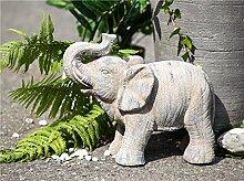 Outdoor Elefant Magnesi braun gewischt frostfest Höhe 38 cm, Tierfigur, Figur, Skulptur, Garten, Gartendeko, Gartenfigur