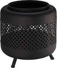Outdoor-Feuerstelle aus schwarzem Metall mit