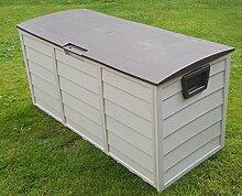 Outdoor Garten-Aufbewahrungskiste aus Kunststoff für Kissen/ Geräte, 248l, Braun
