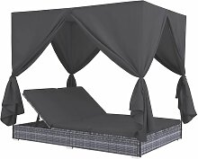 Outdoor-Lounge-Bett mit Vorhängen Poly Rattan