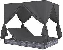 Outdoor-Lounge-Bett Mit Vorhangen Poly Rattan Grau