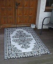 Outdoor-Perser, Balkonteppich, Teppich, wetterfest, 180x120 cm schwarz-weiss