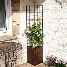 Outdoor-Rattan-Blumenkasten mit Rankgitter und