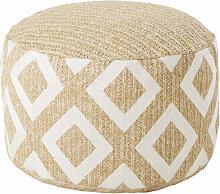 Outdoor-Sitzsack, geflochten, beige mit weißen