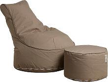 Outdoor Sitzsack Sessel mit Pouf - Chill - Beige