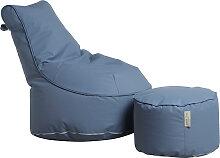 Outdoor Sitzsack Sessel mit Pouf - Chill - Hellgrau