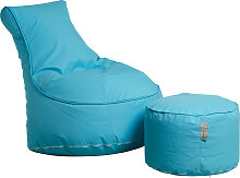 Outdoor Sitzsack Sessel mit Pouf - Chill - Türkis