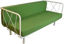 Outdoor Sofa in Grün un d Weiß Stahl