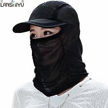 Outdoor Sommer Kinder Kappe UV-klettern Helm schwarz Gesicht Sonnenschutz gap Radfahren Sonnenblende faltbare Hüte, verstellbar, elegant schwarz