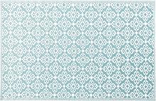 Outdoor-Teppich, blau mit weißen Grafikmotiven