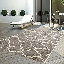 Outdoor Teppich Flachgewebe Modern Innen/Aussen Geknüpft Outside Sunset Gitter Läufer Beige 80x150 cm