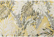 Outdoor-Teppich, gelb, bedruckt mit Blattmotiven