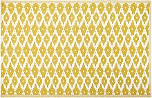 Outdoor-Teppich, gelb mit weiße Grafikmotiven