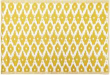 Outdoor-Teppich, gelb mit weißen Grafikmotiven