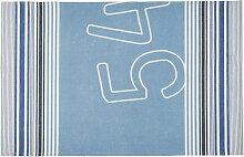 Outdoor-Teppich mit blauen und beigen