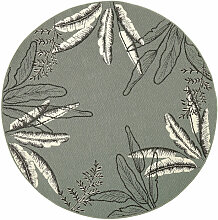 Outdoor-Teppich, rund und grün, bedruckt mit
