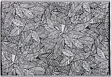 Outdoor-Teppich, schwarz, bedruckt mit weißen
