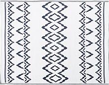 Outdoor-Teppich, weiß mit blauen Grafikmotiven