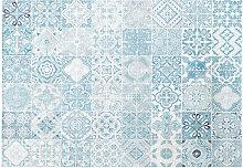 Outdoor-Teppich, weiß mit blauen