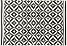 Outdoor-Teppich, weiß mit schwarzen Grafikmotiven