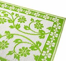 Outdoor-Wende-Teppich , Zweckmäßiger Abstreifer/Vorleger für Balkon, Terrasse oder Flur mit floralem Muster
