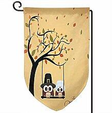 Outdoor Yard Flag,Erntedankfest Eulen Polyester