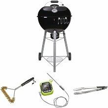 Outdoorchef EASY 570 C schwarz BBQ Kohlegrill Kugelgrill 18.125.41 + Grillbürste + Thermometer + Grillzange