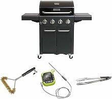 Outdoorchef Grillstation Hudsongrill 284 B ohne Seitenkocher, schwarz + Grillbürste + Thermometer + Grillzange