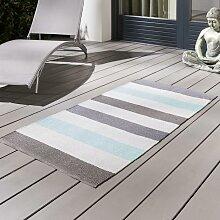 Outdoorteppich in Blau ca.70x140cm 'Stripe'