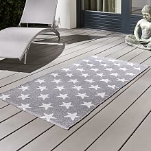 Outdoorteppich in Grau/Weiß ca.70x140cm