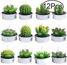 Outee 12PCS Kaktus Teelicht Kerzen Flammenlose