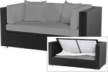 OUTFLEXX 2-Sitzer Sofa, schwarz, Polyrattan