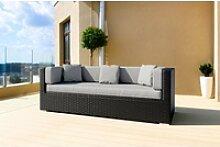 OUTFLEXX Dreisitzer-Sofa, schwarz, Polyrattan,
