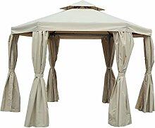 OUTFLEXX hochwertiger Pavillon, Gerüst aus Aluminium, Dach aus Stahlrohren und Polyester in beige, 175 x 175 x 280 cm, Seitenteile imprägniert, wasserabweisend, korrosionsbeständig und wetterfes