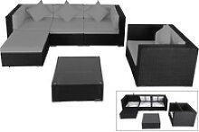OUTFLEXX Loungemöbel, schwarz, Polyrattan, für 5