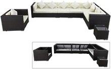 OUTFLEXX Loungemöbel-Set, braun, Polyrattan, für