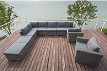 OUTFLEXX Loungemöbel-Set, grau, Polyrattan, 10