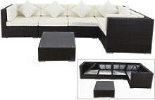 OUTFLEXX Loungemöbel-Set Polyrattan, braun, für