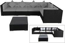 OUTFLEXX Loungemöbel-Set Polyrattan, schwarz,
