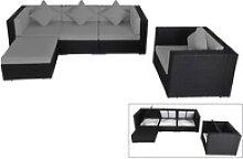 OUTFLEXX Loungemöbel-Set, schwarz, Polyrattan,