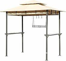 Outflexx Pavillonaus aus grauem Metall, creme, 250 x 150 x 250 cm