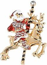 outflower Akkus Weihnachtsmann Elk Weihnachten Brosche Männer Frauen Weihnachten Brosche Urlaub Badge Weihnachtsdekoration, Elk Père Noël, 6*4cm