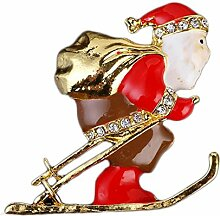 outflower Akkus Weihnachtsmann Elk Weihnachten Brosche Männer Frauen Weihnachten Brosche Urlaub Badge Weihnachtsdekoration, Santa Claus Ski, 4*3.8cm