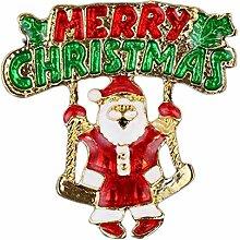 outflower Akkus Weihnachtsmann Elk Weihnachten Brosche Männer Frauen Weihnachten Brosche Urlaub Badge Weihnachtsdekoration, Santa Claus, 4.2*4.2cm