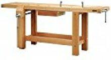 Outifrance 0017201Werkbank Profi aus Holz mit Radius über/Schublade/2Pressen 2,00m