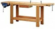 Outifrance 0017202Werkbank Profi aus Holz mit Radius über/Schublade/2Pressen 2,00m