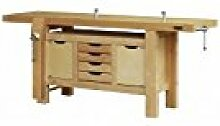 Outifrance 0017221Werkbank Profi aus Holz mit Subwoofer mit 4Schubladen/2Türen/2Pressen 2,00m