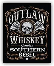 Outlaw Whiskey Retro Emblem - Self-Adhesive