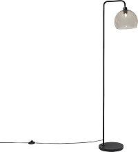 OUTLET   Moderne Stehlampe schwarz mit Rauchglas -